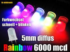 100 Stk. LED 5mm matt/diffus schneller Farbwechsel + Blinken RGB Auto Regenbogen