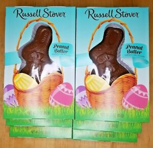 Lot 6 Russell Stovers Peanut Butter Milk Chocolate Bunny 3 oz Best by 08/01/21