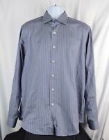 BUGATCHI UOMO Blue Brown Striped Button Up Dress Shirt Large L Mens Classic L/S