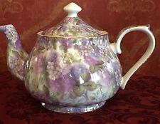 Tea Pot,  Porcelain 34oz Teapot In Purple Hydrangea Floral Chintz Pattern