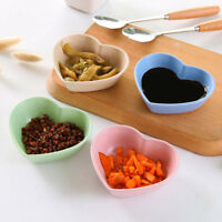 4pcs/Set Wheat Straw Love Heart Shape Small Plates Food Snack Dish Sauce Plate