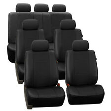 Black Deluxe Perforated Leatherette 7Seater 3 Row Set Split Bench Seat Covers