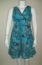 George Womens Dress Sz 16 Blue Floral Sleeveless Cotton Casual Vacation