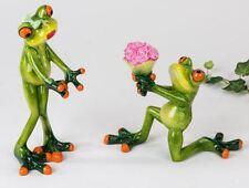 717849 Frosch Figur Set  hellgrün 16cm aus Kunststein mit witzigen Details