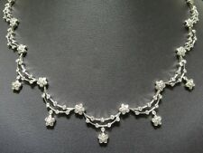 Ladies 14k White Gold Cluster Flower Dangled 4.00ct White Diamond Necklace Chain