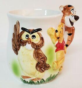 WALT DISNEY WINNIE THE POOH 1960's CERAMIC MUG CUP W/ FIGURAL TIGGER HANDLE OWL