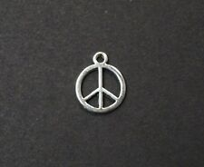 Lot Of 20 Pcs Peace Sign Silver Plated Pendants Charms 16x16mm