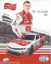"2016 TY DILLON / RICHARD CHILDRESS ""DARLINGTON THROWBACK "" #3 NASCAR POSTCARD"