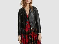 $984 LINI Women's Black Mila Full Zip Leather Moto Biker Jacket Coat Size P