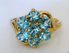 Beautiful 9ct Gold Blue Topaz Cluster Ring Size N
