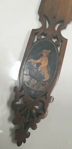 antique hand carved wood inlay decoration Sorrento ware page turner