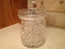 Crystal Biscuit Jar Gorgeous W/ Lid Diamond Pattern W/ Star & Pineapple Top NICE