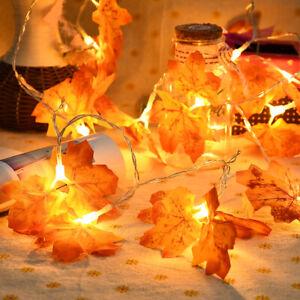 LED Fairy String Light Fall Maple Leaves Leaf Lamp Garland Party Halloween DecJH