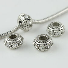10X Czech Crystal Rhinestone Silver Big Hole Spacer European Charm Beads 6x10mm