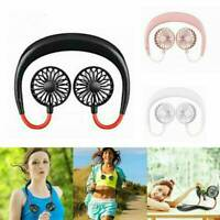 Portable USB Rechargeable Neckband Dual Cooling Mini Fan Lazy Neck Hanging
