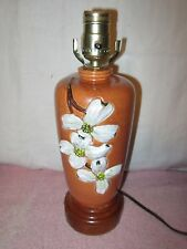 Beautiful Vintage BMC USA Pottery Lamp - Dogwood Flowers
