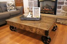 Coffee Table with Iron Caster Wheels Rustic Cart Vintage Design  Wood