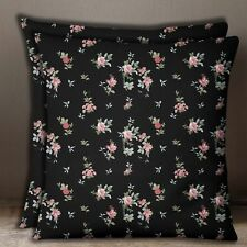 2 Pcs Decorative Floral Black Cotton Poplin Square Pillow Sofa Cushion Cover