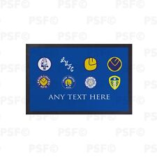 Leeds United FC Official LUFC Retro Badges Blue Personalised Door Mat LDM008