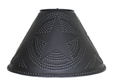 """Lamp Shade with Punched Star in Aged Black Tin -16"""""""