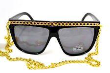 Essential Fashion Lady Gaga Retro 80's Fashion Beach Sunglasses Chain UV400 Blk