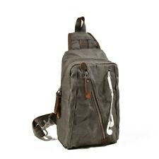 Portable Men Canvas Chest Bag Large Capacity Headphone Hole Single Shoulder Bags