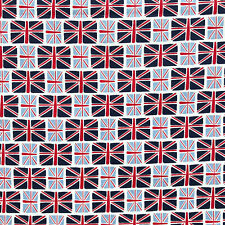 Union Jack Navy & Pale Blue 100% Cotton Fabric Per 1/2 Metre 112cm Wide