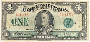 1923 Dominion of Canada $1 Dollar Bill Large Note
