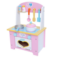 Kids Wooden Play Kitchen Pink+White Boys Girls Childrens Play Set Utensil Toys