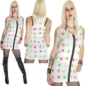 COLOURED SPIDERS WHITE LONG VEST DRESS TOP ALTERNATIVE GOTHIC EMO size 10-12
