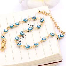 Turkish 14K Yellow Glod Filled Enamel Blue Evil Eye Chain Bracelet Jewelry