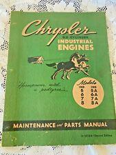OEM Chrysler 6 Cylinder Industrial Engines Maintenance & Parts Manual 5-8A