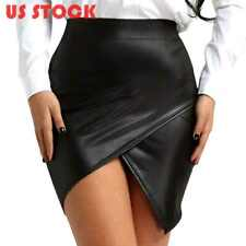 US# Women Wet Look Leather High Waist Mini Skirt Side Slit Pencil Bodycon Dress