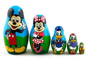 Mickey Mouse Cartoon Matryoshka Russian Nesting Dolls Stacking Babushka 5 Pcs