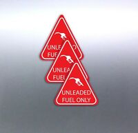 3 UNLEADED FUEL ONLY stickers red & white triangle vinyl 7yr quality 50mm cars