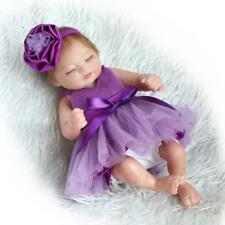 "Miniature 10"" Lovely Realistic Reborn Baby Doll Silicone Full Body Sleeping Girl"
