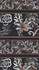 Fabri-Quilt Orleans #112-23082 Black/Brown Floral Stripe Quilt Fabric