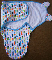 """Simply Kids Baby BOY Easy Wrap Swaddle 100%Cotton""""blue car"""" 0-3 mths BRAND NEW!"""