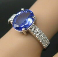 2.60Ct Oval Cut Blue Tanzanite Solitaire Engagement Ring In 14K White Gold Over