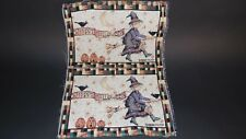 Happy Halloween Witch Riding Broom Unfinished Tapestry Craft Fabric Debbie Mumm