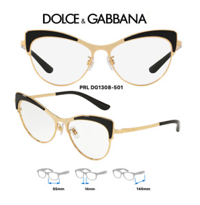 Dolce & Gabbana DG1308-501 Eyeglass Frames Black/Gold Size 55mm (RX) Authentic