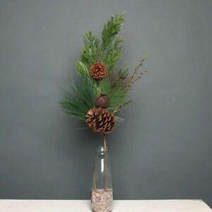 Christmas Decorative Pick Flower Stem Frosted Pine Cone Mistletoe Berry Spray