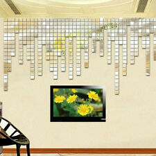 Amazing 100pcs Acrylic 3D Mural Wall Sticker Mirror Effect Home Decor