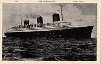 Postcard Ship The Normandie New York