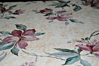 Lily Trail Purple Floral Lilies Vines on Beige Background Wallpaper Roll W1049