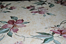 """Lily Trail"" Purple Floral Lilies Vines on Beige Background Wallpaper Roll W1049"