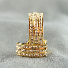 18k Gold GF with Swarovski crystals huggie brilliant elegant earrings