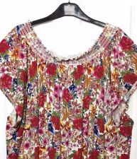 M&S Marks s28 Plus Ladies Ivory Print Bardot SoftStretch Tunic Blouse Top BNWOT