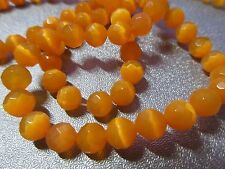 Orange Cat's Eye Faceted Round 6mm Beads 71pcs