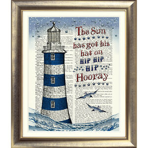 DICTIONARY ART PRINT ON BOOK PAGE LIGHTHOUSE Picture Nautical Sea Seaside QUOTE